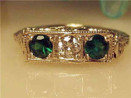 LS8837 A Charming 3 Stone Diamond And Emerald 14K Filigree Art Deco Ring With Approximately  .45 TCW Size 5.75. $795.00