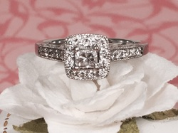 Engagement Ring Nashville L1970. 14k White Gold Engagement Ring With Princess Cut Diamond Center. The Ring Has .38 Approximately Total Carat Weight And Is A Size 6. GIA Appraisal Included. $1195.00
