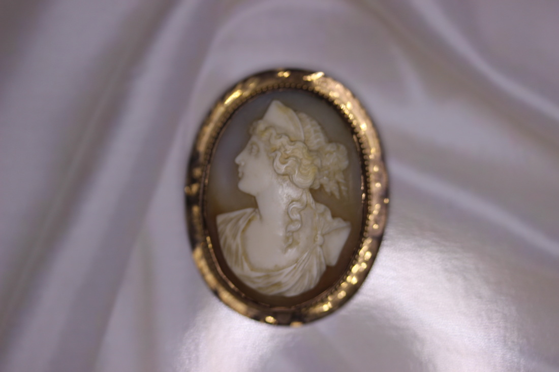 Lysbeth Antiques Estate Jewelry Franklin TN LP2112 West Palm Lady's Estate 10K Yellow Gold Shell Carved Cameo Broach $260.00
