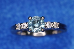 Sterling Silver Rings Franklin Nashville TN LP2162 100%Natural Nice Blue Zircon & White Sapphire Sterling Ring SZ 6.5