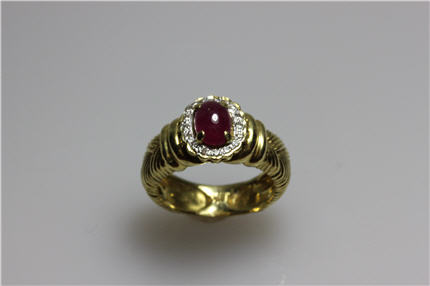 Estate Jewelry Franklin TN LP1865 Vintage Cabochon  Ruby Surrounded By A Halo Of Diamonds Set in 18K Yellow Gold Size 4.25 $950. Can be Resized