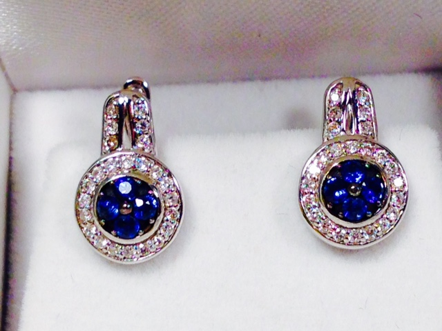 Estate Jewelry Nashville TN LP 1022. Gorgeous Estate Sapphire and Diamond Pierced Earrings.$950.