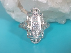 Estate Jewelry Nashville Franklin TNL2112. Antique Filigree Platinum Diamond Ring. Circa 1900. Total Diamond Weight is .33 Carats. Size 6 1/2. $995.00. GIA Appraisal Included.