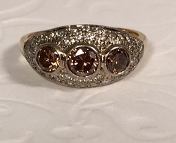 Estate Jewelry Franklin TN Nashville TN LS9929. Estate Custom Made 18K Cognac Diamond Ring. GIA Appraisal Included. Size 7.5. $2300