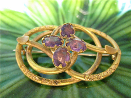 DS8004 Victorian Antique Nouveau Awesome Amethyst Gold Filled Pin, $68