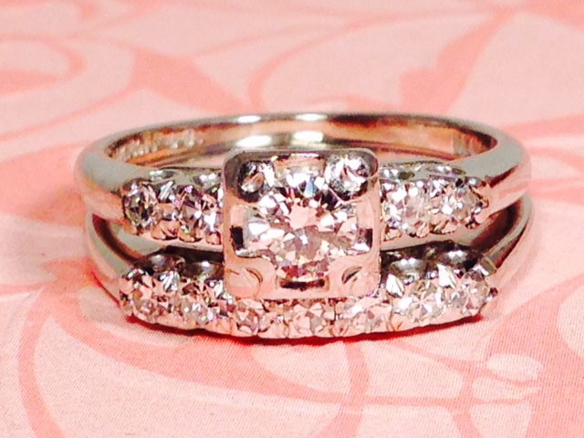 L1691. Lovely Vintage Locking Diamond Wedding Set. Size 6.5. $300.