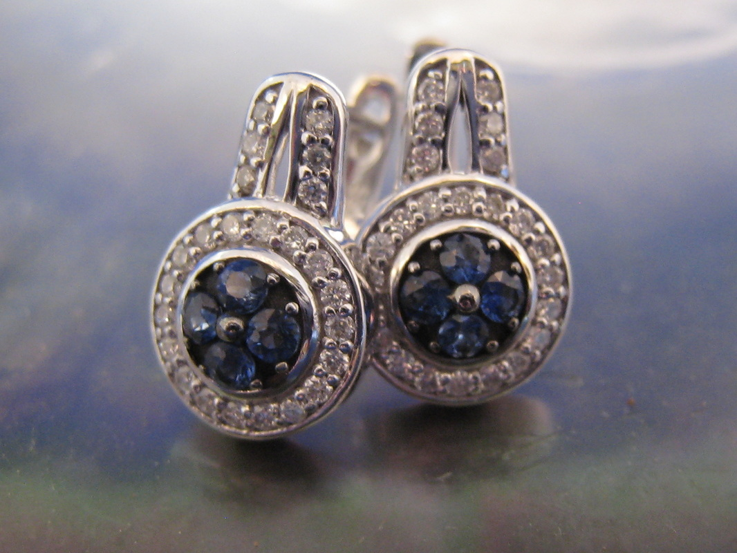 LP1022 Gorgeous Estate 18K White Gold 1.58ct sapphire and .42 ct Earrings  $950
