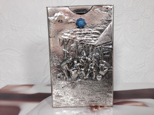 Sterling Silver Nashville Franklin TN L1629G. Dutch Hallmarked Silver Cigarette Case With a Star Sapphire. Circa 1853 to 1903 With The Dolphin Silver Mark. $248.00