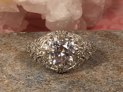 Estate Jewelry Franklin TN L2073. This Tantalizing Diamond Semi Mount Is Set In 14K White Gold And Diamond With A Center Approximately 1 1/4 Carat Cubic Zirconia Waiting For Your Treasure Center Diamond. Size 6 3/4. $1295.00