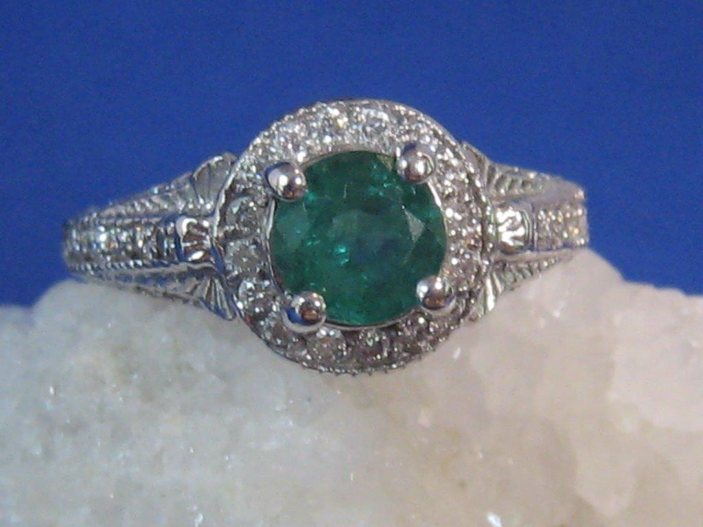 Diamond Emerald Engagement Ring Nashville L842. Lady's Vintage Estate Diamond & Emerald Halo Engagement Ring In White Gold. Emerald .80 Carats & Diamonds .52 Carats. Appraisal Included. $995.00