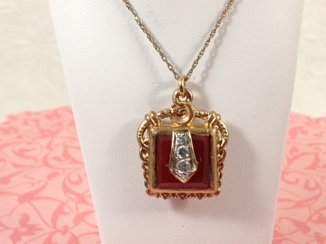 LS8633. Antique Carnelian Gold Filled Fob Necklace. $140.00