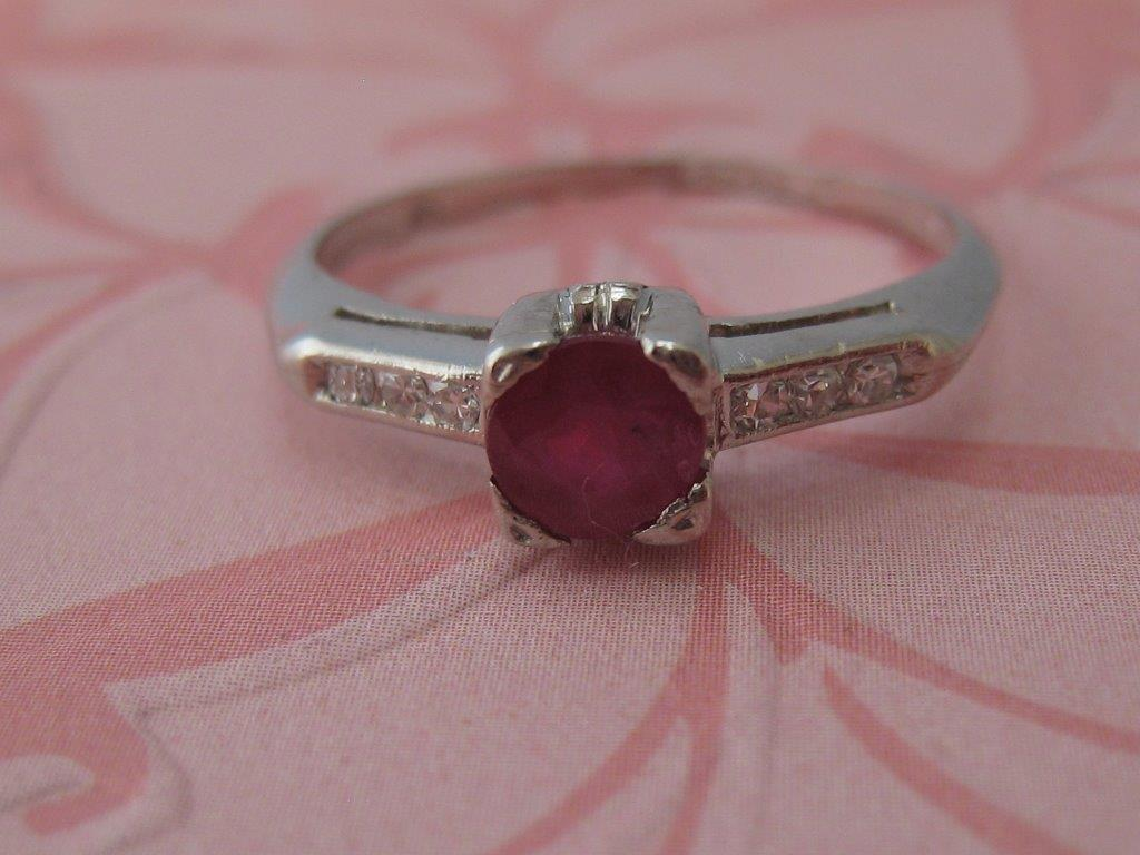 L784 This Sweet Vintage ~ Antique Ring Set In Platinum With a Ruby and Diamonds Is A Size 6.5. $490.00