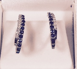Estate Jewelry Franklin TN L2061. Sophisticated Sapphire and Diamond 10K White Gold Pierced Earrings. $285.00