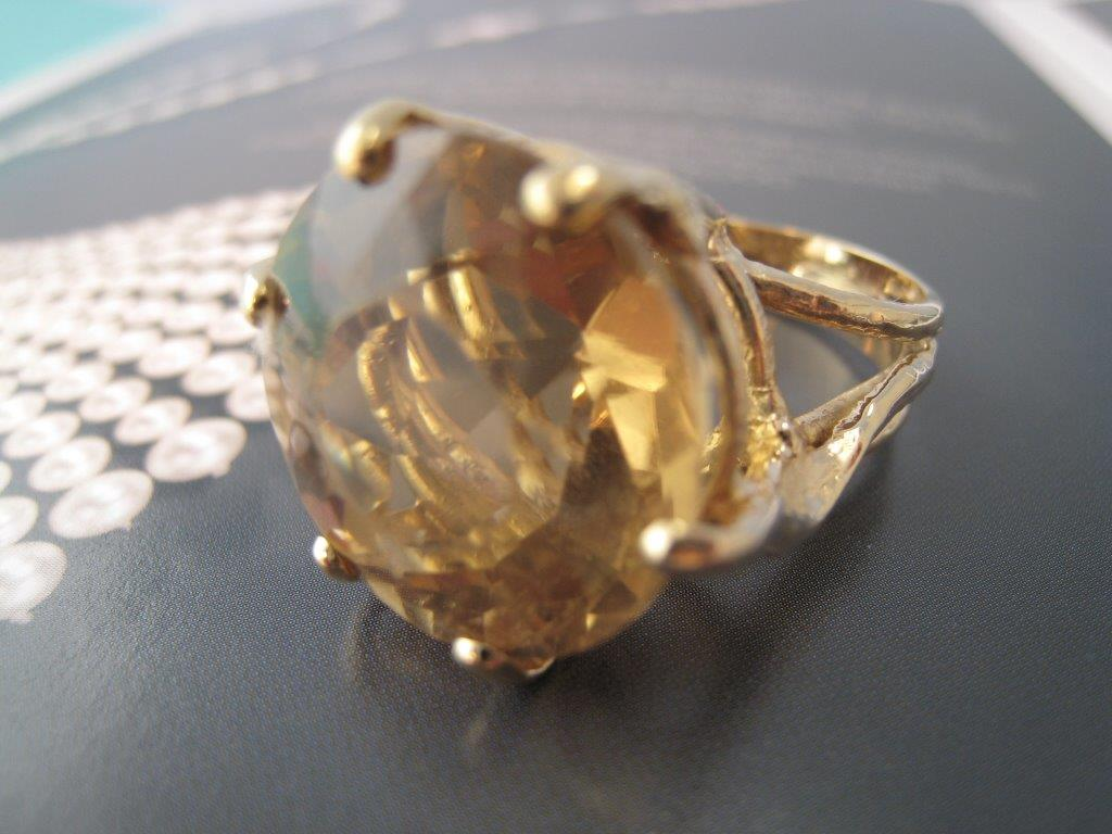 LP1180E Custom Made 18K Citrine Ring. This Stylish Hand Made Ring Has A Sparkling Faceted Golden Citrine Size 6.5 $1200. (GIA Appraisal Included)