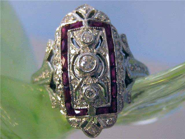 Estate Jewelry Nashville estate Jewelry Franklin Jewelry Stores Franklin Jewelry Stores Nashville LP1118. VINTAGE ESTATE 14K RADIANT RUBY AND DIAMOND RING. SIZE 7.25. $1395.00