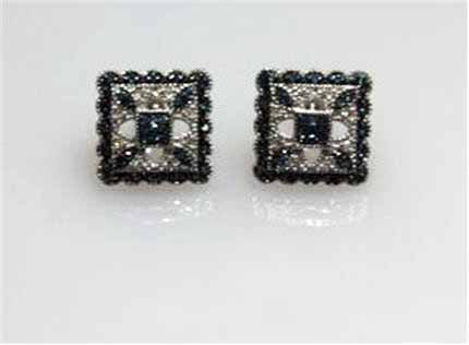 LP1837 Very Stylish Vintage Blue and White Diamond Pierced Earrings. $495.