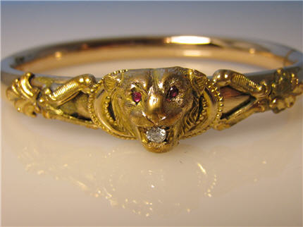 Jewelry Stores In Franklin TN Victorian Jewelry Nashville LP188, Georgeous Victorian Gold Filled Lion Head Bangle With Ruby Eyes and A Diamond in The Mouth. $395
