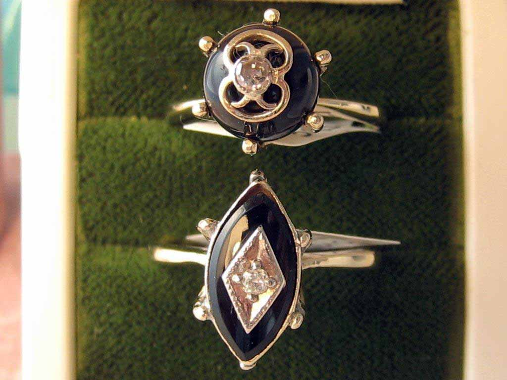 L175, L176. Antique Estate Diamond And Onyx Rings. Set in 14K Yellow Gold. May be worn Separate But Look Great Together. Size 6.5 $395.00 EA.