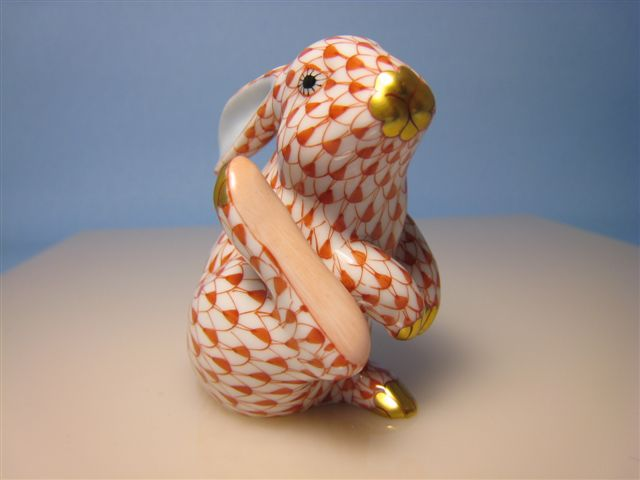 Franklin TN LP207 Herend Rust Fishnet Bunny - Bunny Collection