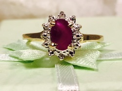 Estate Jewelry Franklin TN Nashville TN L2048. Radiant Estate Ruby Set in 10K Yellow and White Gold. Size 5 1/4. $235