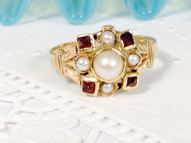Estate Jewelry Franklin TN L1743. Antique ~ Estate 9 Carat Yellow Gold Garnet and Pearl Ring. Size 6 3/4. $395.