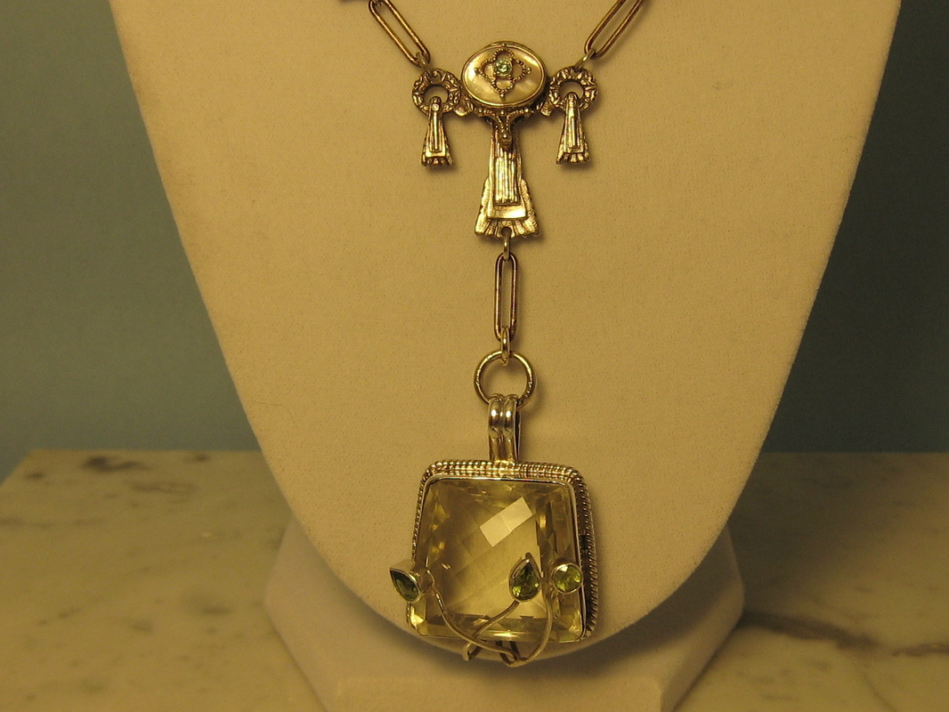LS4315 Vintage Mixed Metals Necklace With Sterling Silver and Citrine Pendant. $265.00