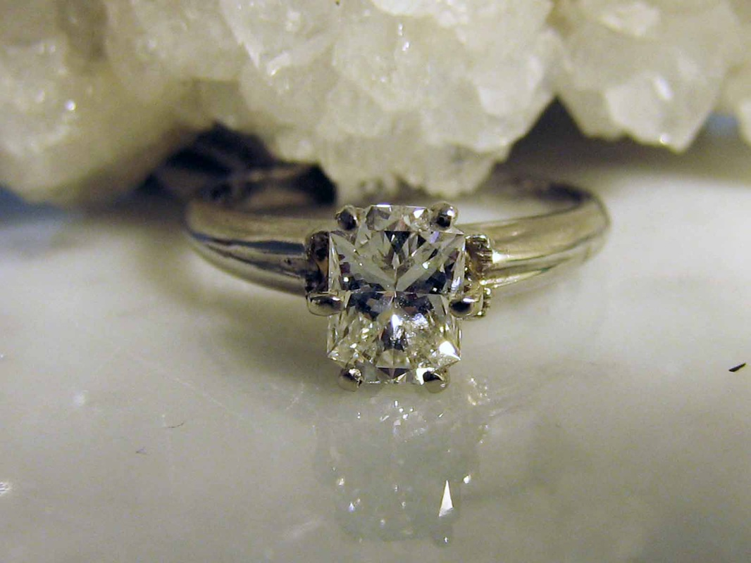 Diamond Engagement Rings Nashville LP1930 Stunning Platinum Mixed Cushion Cut Approx..97 Carat VVS2 Clarity H Color Solitaire Size 5.25 3.1 grams, $4650. GIA Appraisal Included.