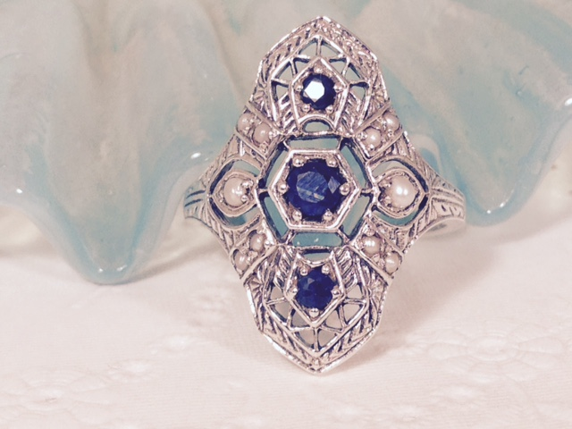 L1745. Natural Sapphire, Pearl and Sterling Silver Filigree Ring. Size 7. $55.00