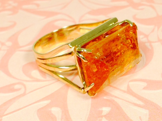 L1692. Awesome Estate Rutilated Citrine Set in 10K Yellow Gold. $150.00
