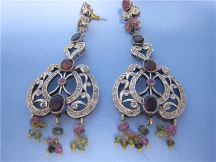 LS8002 Victorian Style Silver Earrings Set With Tourmalines, Topaz, Sapphires and Diamonds. WOW!