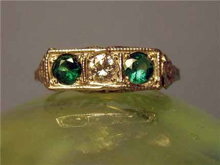 LS8839 Vintage Art Deco 3 Stone Filigree Emerald And Diamond Ring. Approx. .75 TCW Size 6. $850.00