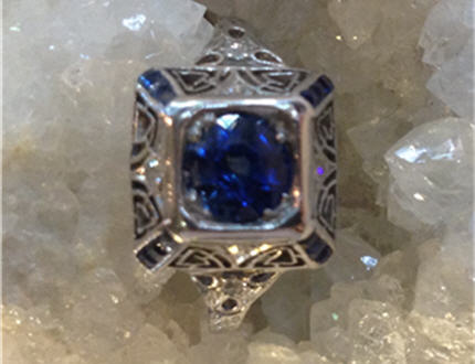 Vintage 1930's Platinum Estate Approx. .76 ct Blue Sapphire with Diamonds. A steal at only $1595. GIA appraisal included at $3100. Size 6-3/4 and stamped Platinum.