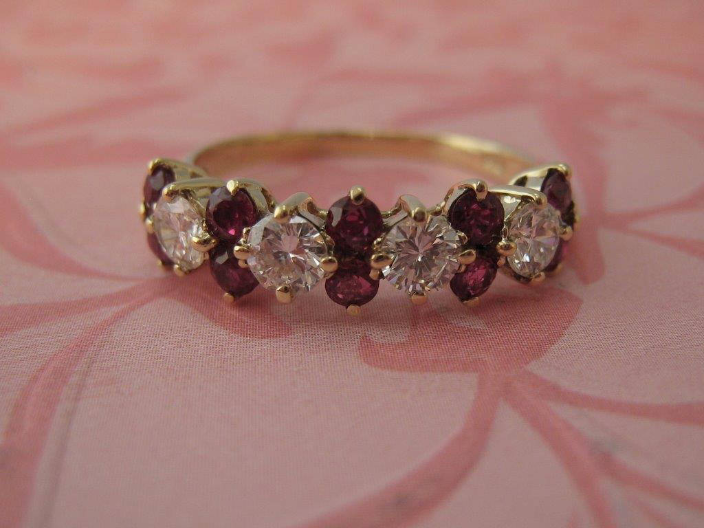 L785 Estate 14k Ruby and Diamond Band. This Vibrant 14k Yellow Gold Ruby and Diamond  Ring Is Breathtaking. Size 6.5  $1395.00
