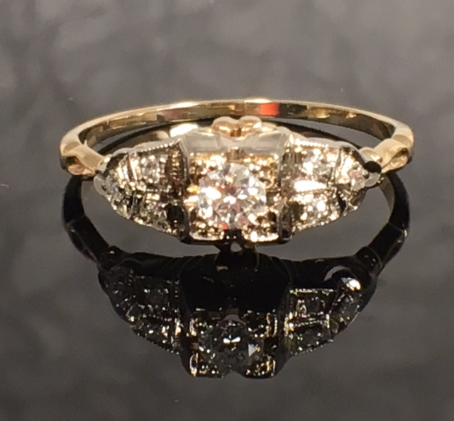 LP2217 Vintage Art Deco Euro Cut .24 VS1 H Color Diamond Engagement Ring SZ 8. $900. Can be resized