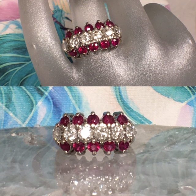 L2140. Lady's Estate 14K Two Tone Ruby And Diamond Band. 1 Carat Total Weigh in Diamonds and 1.2 TCW Rubies. Size 7. GIA Appraisal Included. $3000