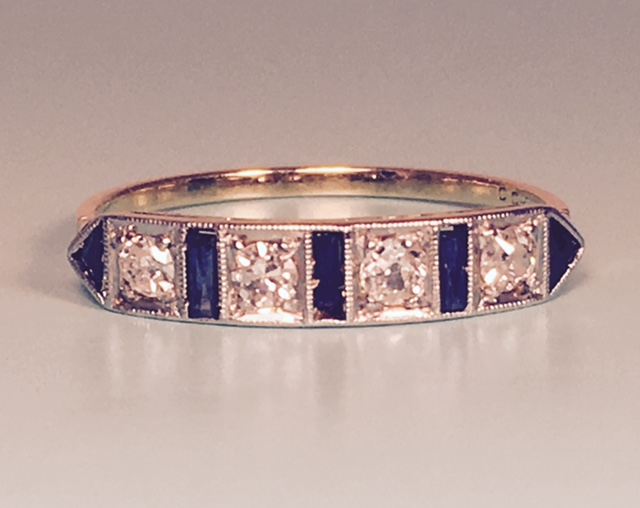 L2282. Vibrant Art Deco 18K and Platinum Sapphire and Diamond Wedding Band. Size 6 3/4. $895.00