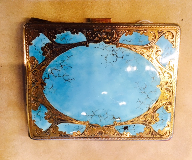 L2326. Outstanding Art Nouveau 800 Silver With Enameling Card Case. $375