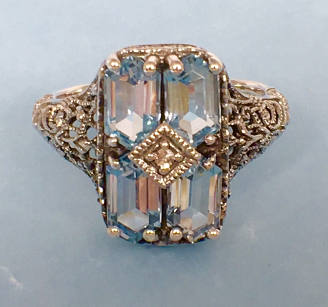 L2361. Glamorous Art Deco Style Blue Topaz, Sterling Silver and Diamond Ring. Size 7. $148.00