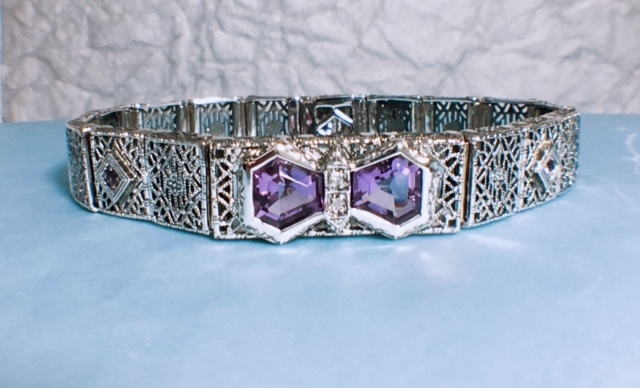 Estate Jewelry Nashville   Print all In new window L2362. Fabulous Sterling Silver Filigree Bracelet With Diamonds and Amethyst. $348.00