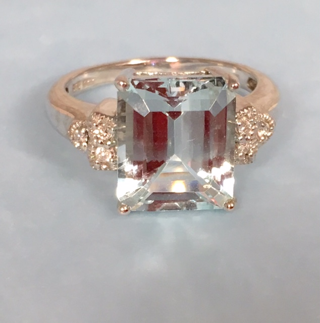 Estate Jewelry Franklin L2373. Stunning 5 Carat Emerald Cut Diamond and Aquamarine Ring. Set In 14K and In A Size 6. $850.00