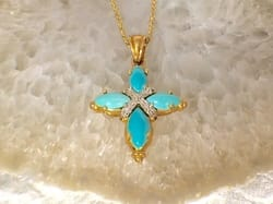 L2374. Fabulous 14K Estate Turquoise Cross. Set In Yellow And White Gold. $550.00