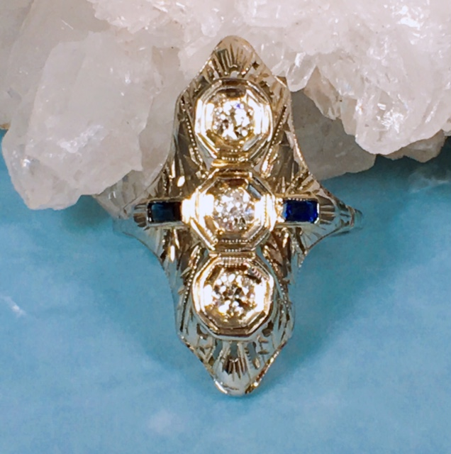 L2376. Enticing Edwardian Diamond And Sapphire 14k Ring. Size 6 1/2. $1200.00