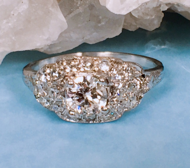 L2377. Stunning Art Deco Engagement Ring. This Platinum Ring Has A Total Diamond Weight Of .70 Carats. Size 6 and Possible To Size Up Or Down. $3295.00