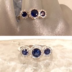 L2609. This simply elegant diamond and sapphire estate ring is absolutely beautiful. It has approximately .75 carat weight in sapphires and set in 14 karat white gold. $1295.00