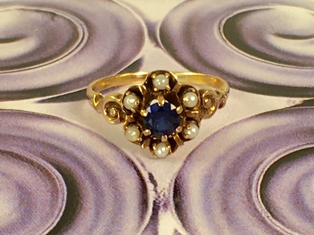 L2612. This is a precious Victorian 9k pearl and sapphire ring. Very dainty sweet and petite. $250