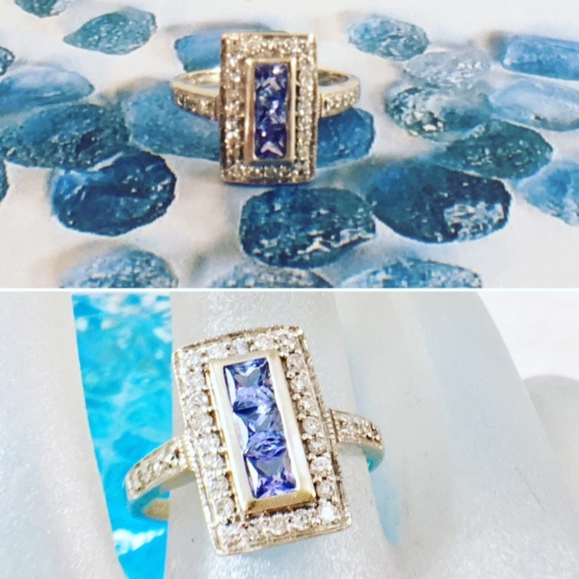 Estate Jewelry Nashville Franklin TN L2681. The sapphire is the most valuable of blue gemstone. This stunning Ceylon sapphire ring is set in 14 karat white gold with princess cut Ceylon sapphires and full cut diamonds. $895.00