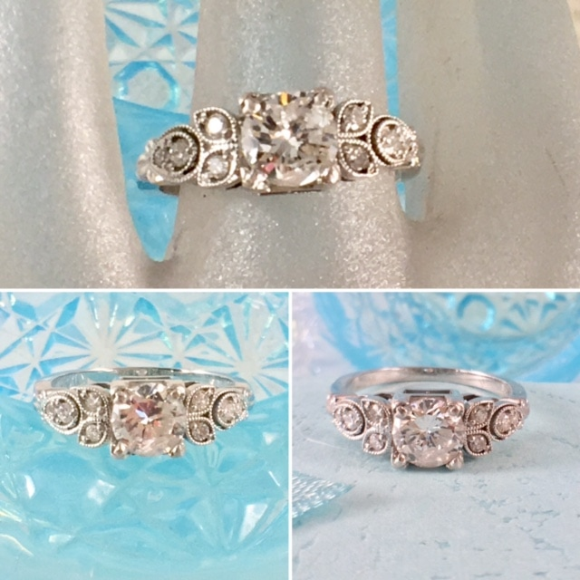 Antique Engagement Jewelry Nashville Franklin TN L2737. This lovely sparkling vintage deco style wedding ring is sure to delight her. Center diamond is approximately .90 carats. $1950.