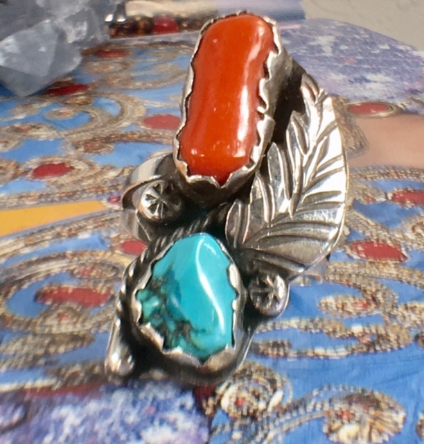 Nashville TN L2771. Awesome Turquoise and coral Navajo Ring. You will love this one! $125.00