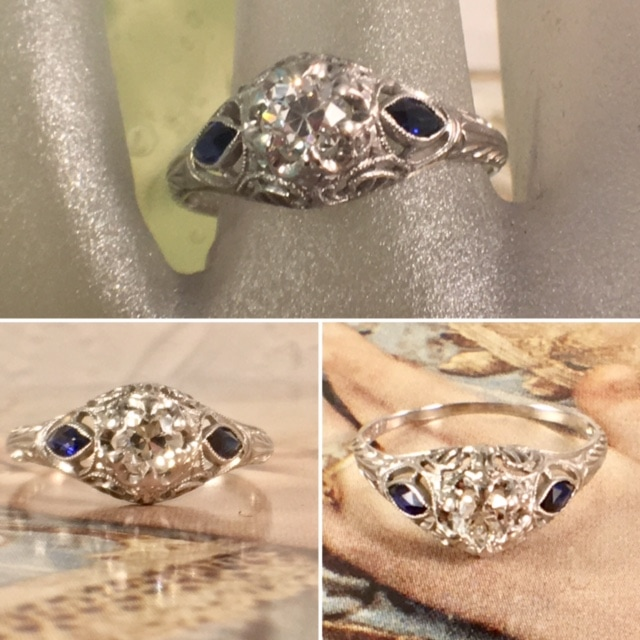 Estate Jewelry Nashville Franklin TN L2804. Sweet sparkling 18k diamond and sapphire deco ring. $795.00