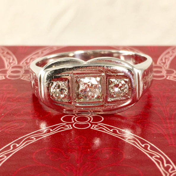 Estate Jewelry Nashville Franklin TN L2877. Heavy antique men's diamond 14k ring. He will love the look and price of this substantial diamond ring. $600.